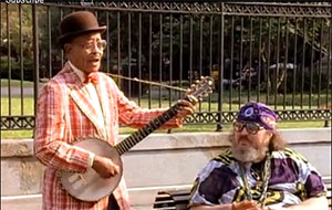 Danny Barker and Dr John in front of Louis Armstrong Park