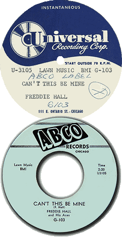 "Records labels of Freddie Hall & His Aces, ""Can't This Be Mine"""