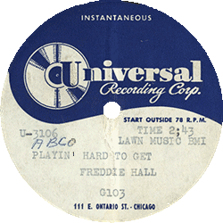 "Record's label of Freddie Hall & The Aces, ""Playin' Hard To Get"""