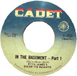 Etta James & Sugar Pie DeSanto, In The Basement, 45 rpm record label