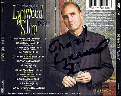 Lynwood Slim, Last Call, CD back cover with Lynwood signature