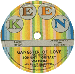Johnny Guitar Watson, Gangster of Love, 78 rpm record label