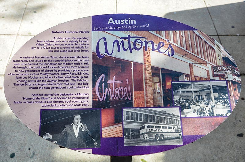 Marker of original Antone's site, Austin, Texas
