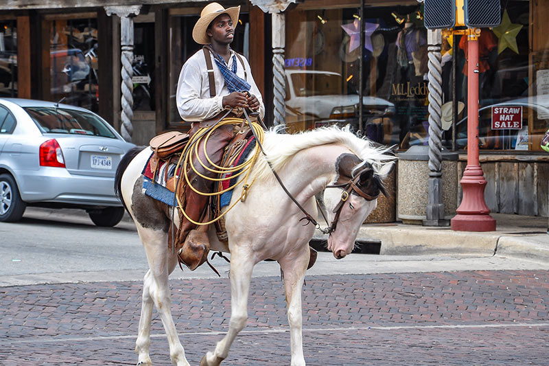 Fort Worth cowboy in historic downtown, Texas