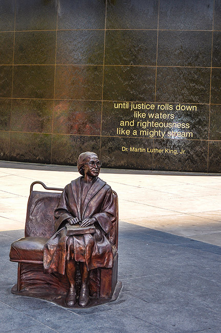 Rosa Parks statue and Martin Luther King quote, Dallas, Tx