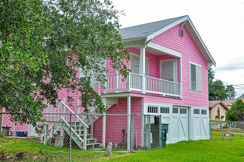 Pink house in Galveston, Texas