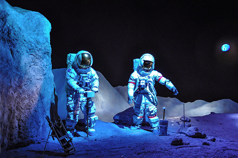 Astronauts on the moon, Johnson Space Center, Houston, Texas
