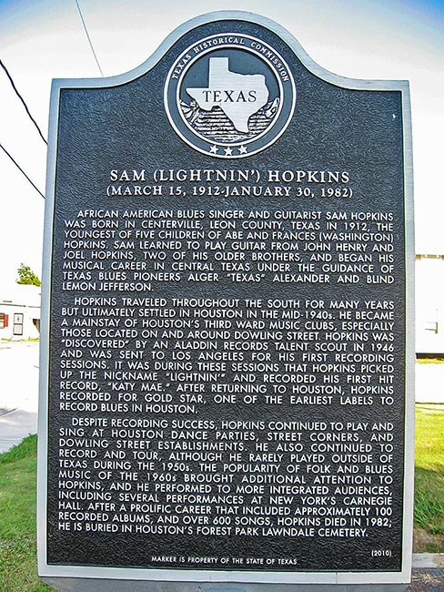 Sam Lightnin' Hopkins plate, Third Ward, Houston, Texas
