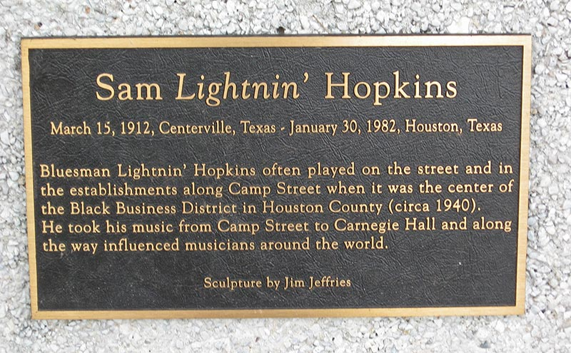 Lightnin' Hopkins statue plate, Crockett, Texas