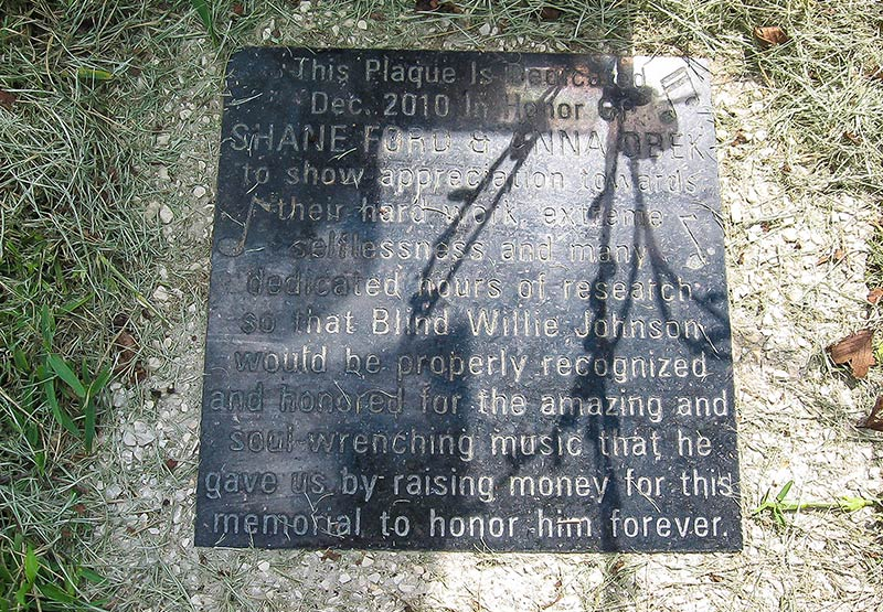 Shane Ford and Anna Obek Plaque, Blind Willie Johnson's memorial, Blanchette Cemetery, Beaumont, Tx