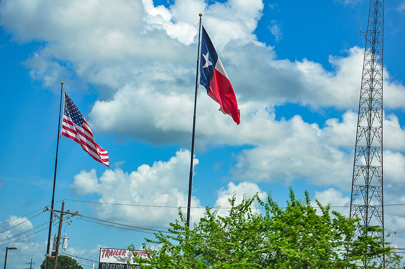 Flags on the road, Southeast Texas