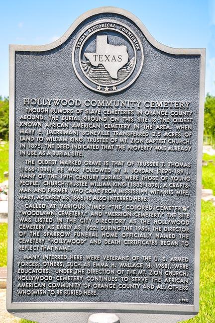 Hollywood Community Cemetery historic marker, Orange, Texas