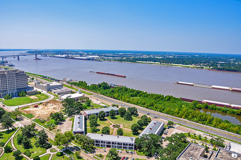 Mississippi River and Pentagon Barracks, Baton Rouge, Louisiana