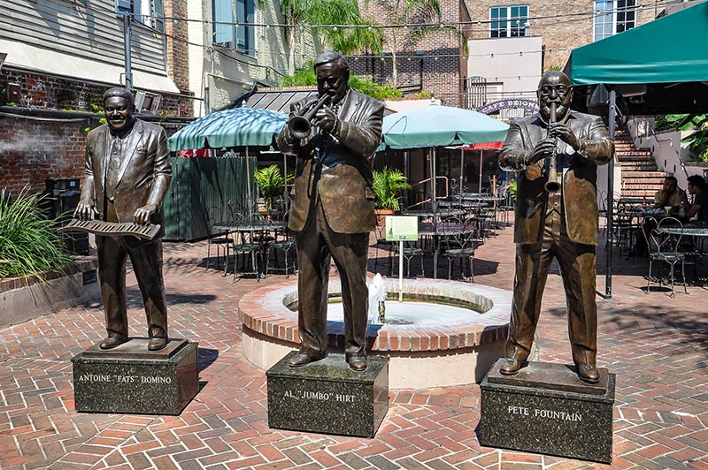Fats Domino, Al Hirt and Pete Fountain statues, French Quarter, N.O., Louisiana