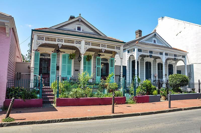 Double shotgun houses in French Quarter, N.O., Louisiana