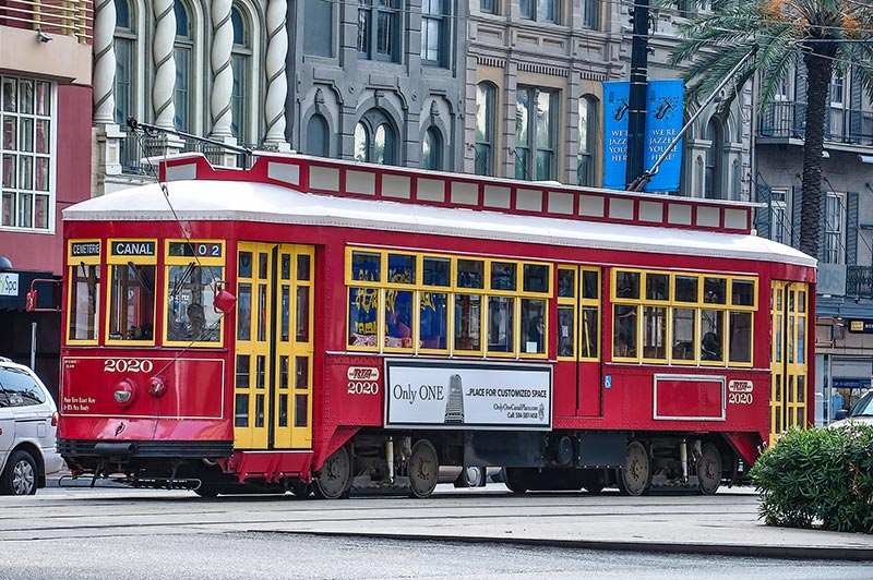Streetcar in Canal Street, New Orleans, Louisiana