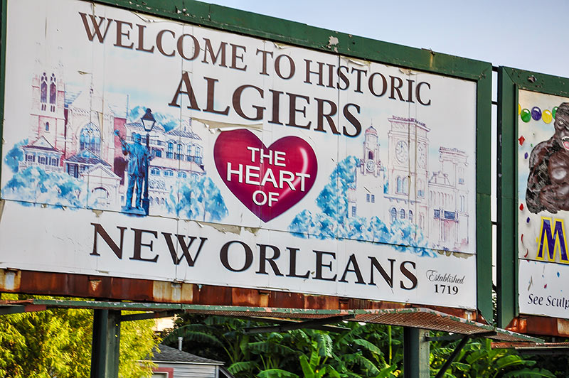 Welcome to Historic Algiers sign, N.O., Louisiana