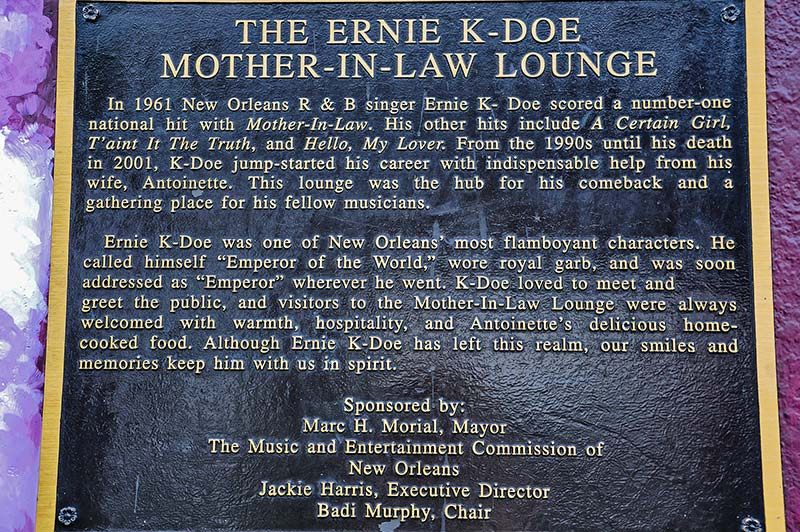 Ernie K-Doe's Mother-In-Law Lounge plate, N.O., Louisiana