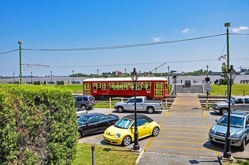 Moowalk, Mississippi Riverfront and streetcar, N.O., Louisiana