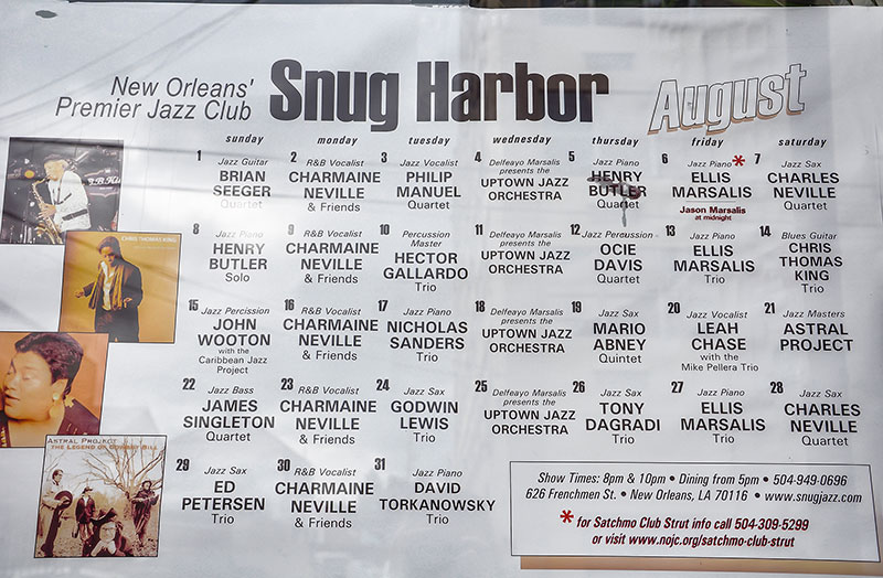 Snug Harbor schedule, N.O., Louisiana
