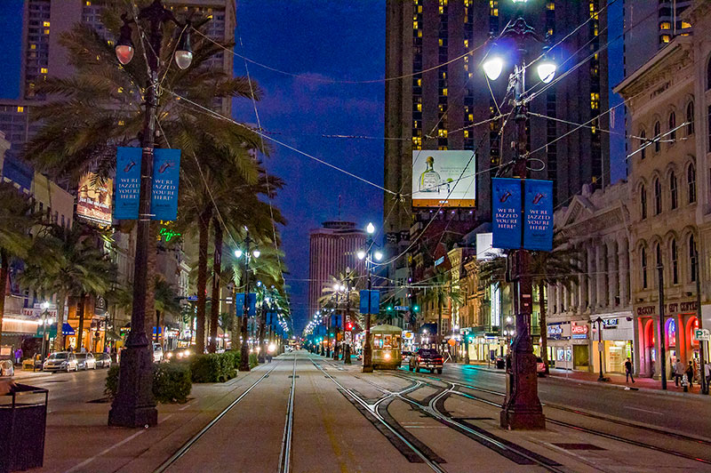Canal Street at night, New Orleans