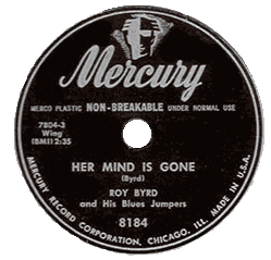 "78 rpm label of Prof. Longhair's ""Her Mind Is Gone"", Mercury Records"