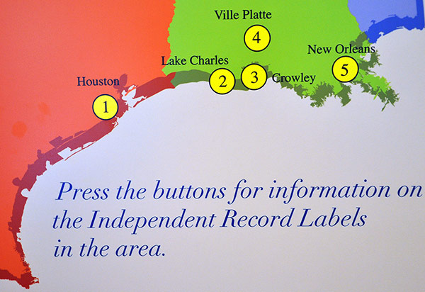 Map of independent record labels in South Louisiana in 1940s and 1950s