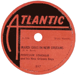 "78 rpm label of ""Mardi Gras in New Orleans"", Atlantic Records"