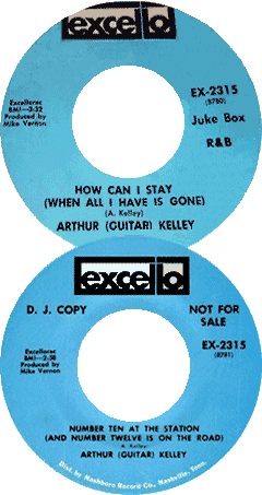 Labels of Excello 45 rpm records of Arthur Guitar Kelley