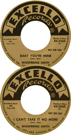 Labels of Whispering Smith's Excello 45 rpm records (Swamp Blues)