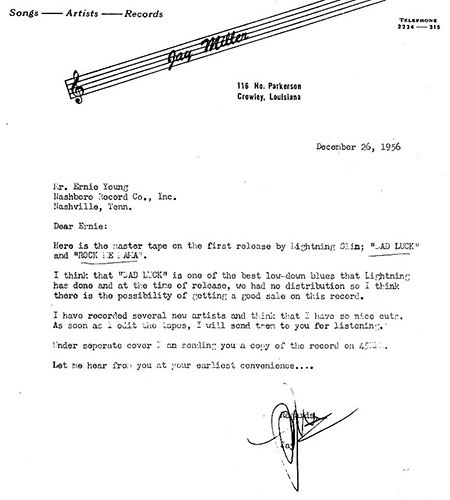 J.D. Miller's letter to Ernie Young