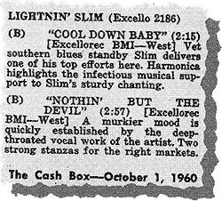 Lightnin' Slim's records on Cash Box