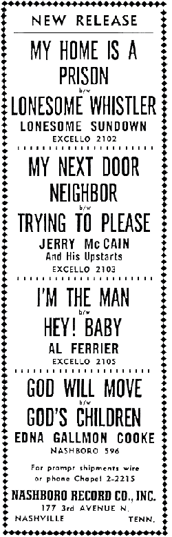 Newspaper ad for Excello Records