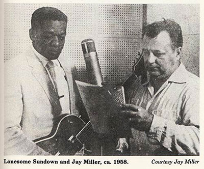 Lonesome Sundown & J.D. Miller in the studio, 1958 ca.