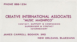 James Booker's card
