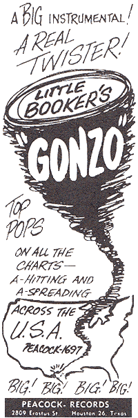 "Peacock Records' ad for Little Booker's record ""Gonzo"""