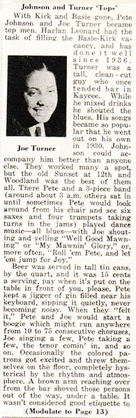 Newspaper article about Big Joe Turner and Pete Johnson's performance in a K.C. bar in the 1930s