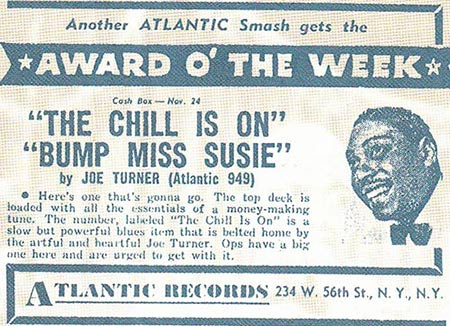 Atlantic's ad for Joe Turner's Bump Miss Suzie record