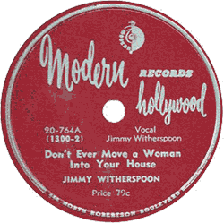 "78 rpm record ""Don't ever move a woman"""