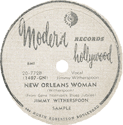 "Jimmy Witherspoon's 78 rpm record ""New Orleans Woman"""