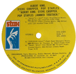 Cropper, Staples, King, Jammed Together record's label