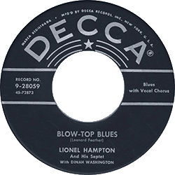 "Label of 45 rpm record ""Blow Top Blues"""