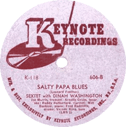 "Dinah Washington's 78 rpm record ""Salty Papa Blues"""