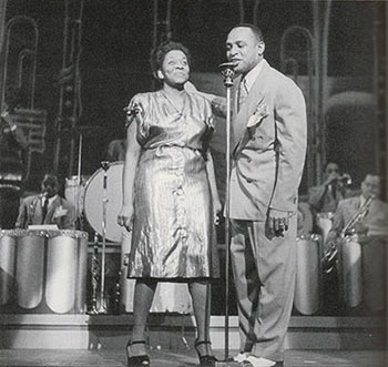 Dinah Washington & Lionel Hampton on stage at the Strand Theater, NY