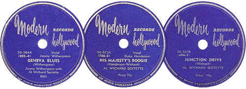 78 rpm Modern Records by Al Cake Wichard