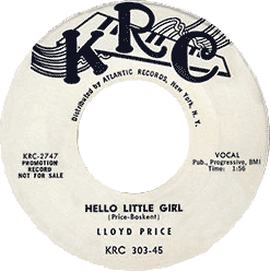 "Lloyd Price's 45 rpm record ""Hello Little Girl"""