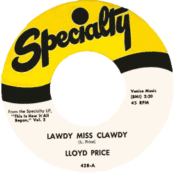 "Label of ""Lawdy Miss Clawdy"" 45 rpm record"