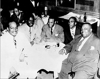 Count Basie, Ernie Fields, Melvin Moore, Charlie Christian, Jimmy Rushing, late 1940's.
