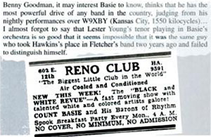 John Hammond about the Count Basie's orchestra at Reno Club