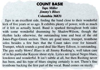 Down Beat about Count Basie's Columbia record Taps Miller / Jimmy's Blues